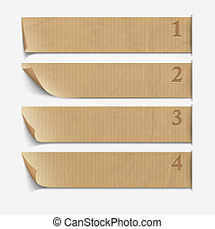 Old paper numbered banners Vector website layout