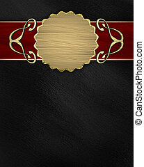black background with a red stripe and a gold circle. Design...