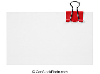 Blank white card with red clip on white background - Blank...