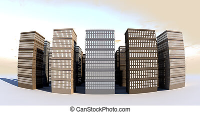 Building And Skyscapers Front Wide Angle - A city of...