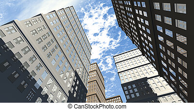 Building And Skyscapers Upward - An upward view of a city of...