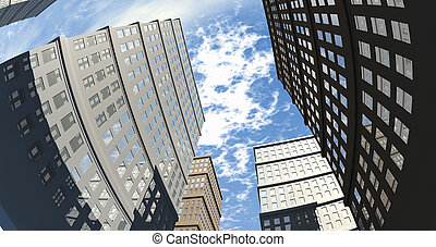 Building And Skyscapers Upward Wide Angle - An upward view...