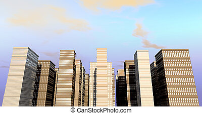 Building And Skyscapers Front - A city of monolithic...