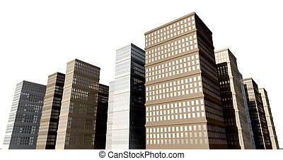 Building And Skyscapers Isolated - A city of monolithic...
