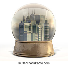 Polluted City Snow Globe - A regular snow globe with a...