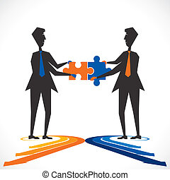 join venture - two people join puzzle piece stock vector