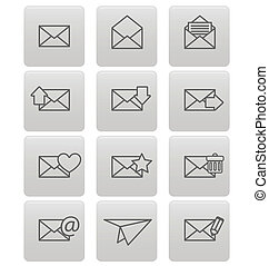 Envelope icons for email on gray squares