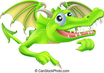 Cartoon Dragon Pointing Down - Illustration of a happy...
