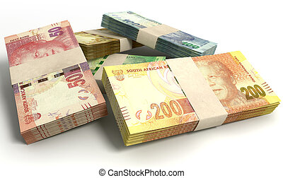South African Rand Notes Bundles Stack - A scattered pile of...