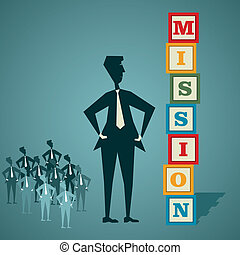 mission building block - businessmen and team mission build...