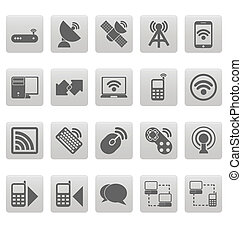 Wireless icons on gray squares