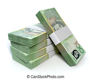 Australian One Hundred Dollar Notes Bundles - A stack of...