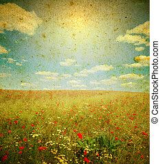 landscape - Photo of a poppies pasted on a grunge background...