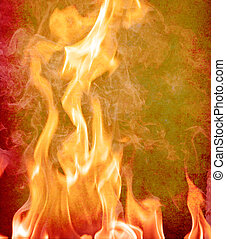 Fire  flames  - Flame of fire. Grunge background