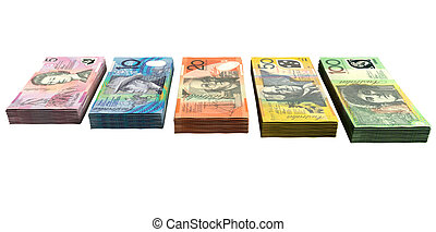 Australian Dollar Notes Collection - A uniform stack of...