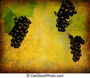 Wine label background - Bunch of grapes, surrounded by...