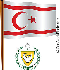 turkish republic of northern cyprus wavy flag and coat of...