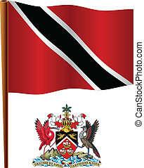 trinidad and tobago wavy flag and coat of arm against white...