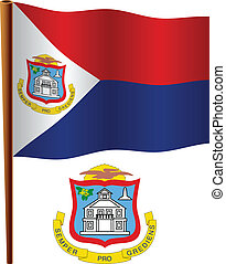 saint martin wavy flag and coat of arm against white...