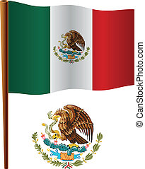 united mexican states wavy flag and coat of arm against...