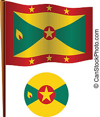 grenada wavy flag and icon against white background, vector...