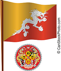 bhutan wavy flag and coat of arms against white background,...