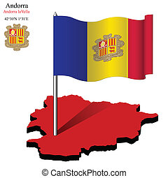 andorra wavy flag over map
