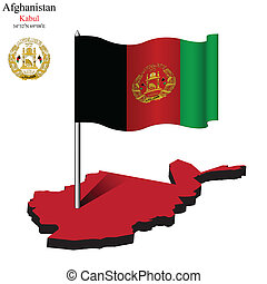 afghanistan wavy flag over map
