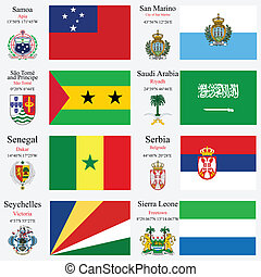 world flags and capitals set 21 - world flags of Samoa, San...