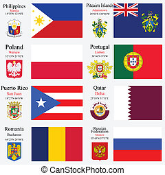 world flags and capitals set 19 - world flags of...