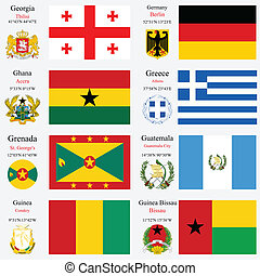 world flags and capitals set 9 - world flags of Georgia,...