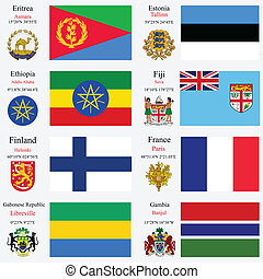 world flags and capitals set 8 - world flags of Eritrea,...