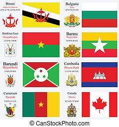 world flags and capitals set 4 - world flags of Brunei,...