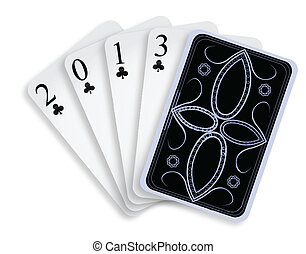2013 playing cards against white background, abstract vector...