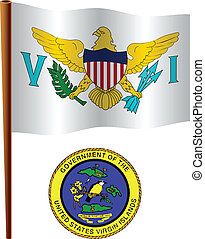 virgin islands wavy flag and coat of arm against white...