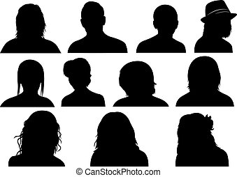 Set of men and women heads isolated on white