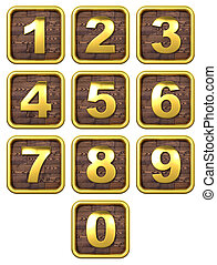 3D Set of Gold Metal Numbers - 3D Set of Gold Metal Numbers,...