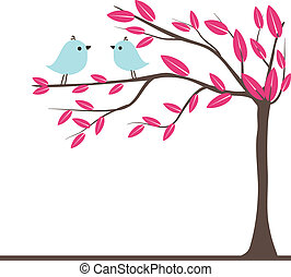 Cute greetings card with birds on a swing - CutCute...