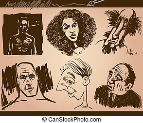 people faces caricature sketch drawings set - Cartoon...