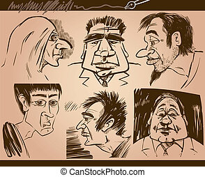 people faces cartoon sketch drawings set - Cartoon...