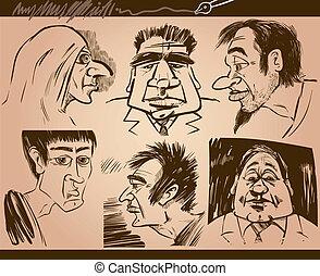 people faces cartoon sketch drawings set - Cartoon...