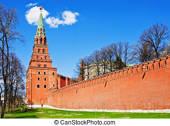 towers and walls of the Moscow Kremlin. Moscow