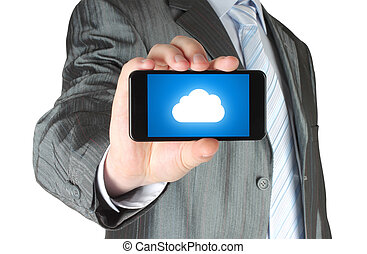 Businessman holds smart phone with cloud computing concept on white background
