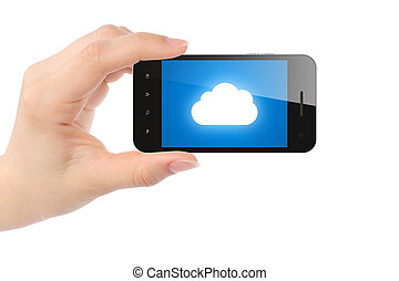Woman hand holds smart phone with cloud computing concept on white background