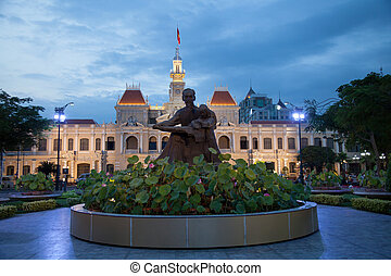 City Hall in Ho Chi Minh city, Vietnam - City Hall at night...