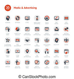 Media and Advertising icons - Set of business icons for...