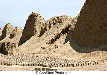 Desert Brick Yard - Hundred of mud bricks in the hot desert...