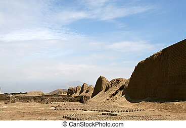 Mud Brick Making - Mud bricks are lined up to dry in the hot...