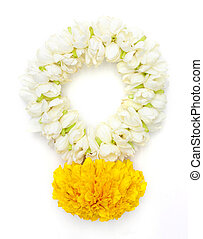 Flower garlands in thai style on white background