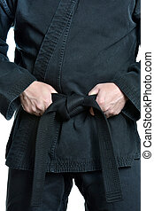 Karate Black Belt - man black belt karate uniform